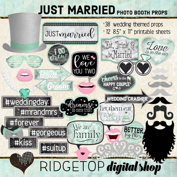 Ridgetop Digital Shop | Just Married - Mint Photo Props | Wedding Photo Booth