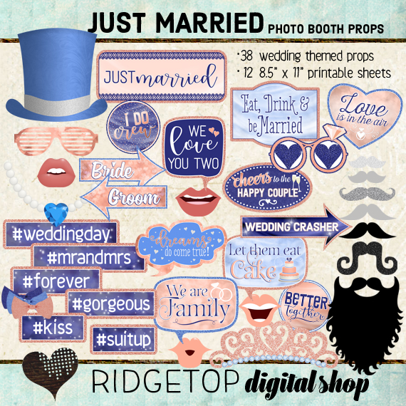 Ridgetop Digital Shop | Just Married - Peach and Cornflower Photo Props | Wedding Photo Booth