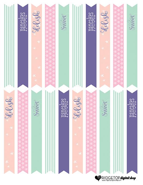 Ridgetop Digital Shop   Pajamas and Pancakes Straw Flags Free Printable