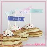 Pajamas and Pancakes Straw Flags Free Printable