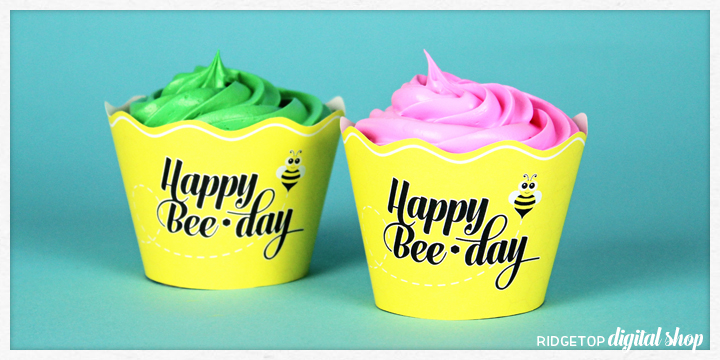 Ridgetop Digital Shop | Happy BeeDay Cupcake Wrapper Printable | Bee Party Printable | Free Printable