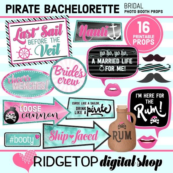 Ridgetop Digital Shop | Pirate Bachelorette Photo Booth Props | Bridal Shower | Hen Party | Lady Pirate