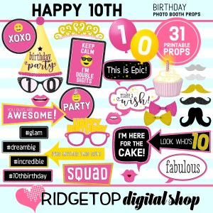RDS 10th birthday printable photo booth props pdf