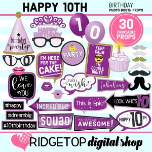 Ridgetop Digital Shop 10th Birthday Printable Purple Photo Booth Props