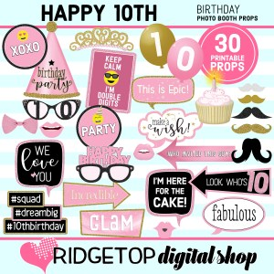 Ridgetop Digital Shop 10th Birthday Printable Photo Booth Props