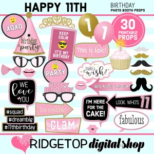 Ridgetop Digital Shop 11th Birthday Printable Photo Booth Props