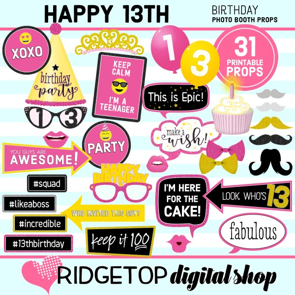 RDS 13th birthday party printable photo booth props
