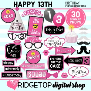 Ridgetop Digital Shop 13th Birthday Printable Pink Party Photo Booth Props
