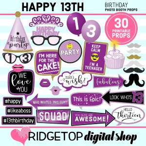 Ridgetop Digital Shop 13th Birthday Printable Purple Photo Booth Props