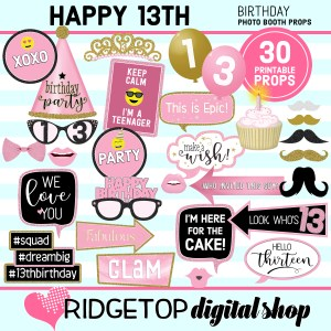 Ridgetop Digital Shop 13th Birthday Printable Photo Booth Props