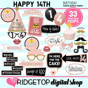 14th birthday rose gold photo booth props printable download