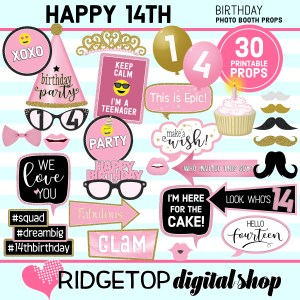Ridgetop Digital Shop 14th Birthday Printable Photo Booth Props