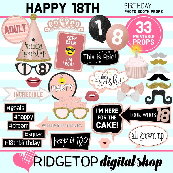 18th birthday rose gold photo booth props printable download