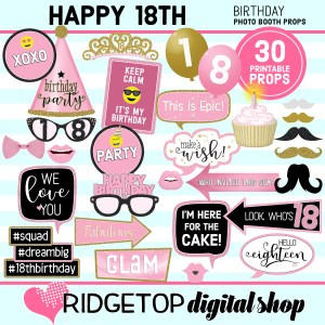 Ridgetop Digital Shop 18th Birthday Printable Photo Booth Props