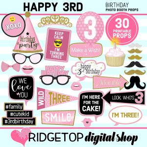 Ridgetop Digital Shop 3rd Birthday Printalbe Photo Booth Props