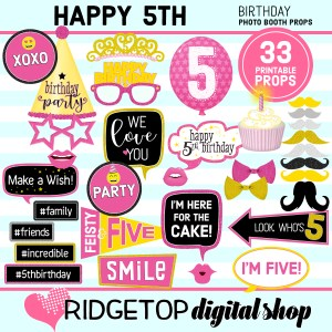 RDS 5th Birthday Printable Photo Booth Props