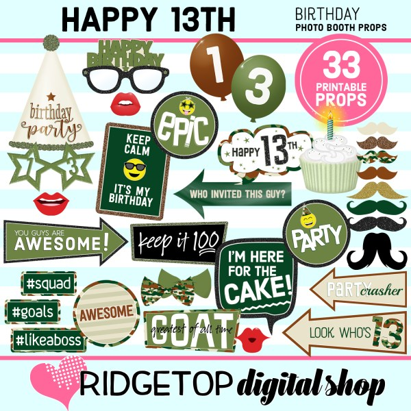 Ridgetop Digital Shop | 13th birthday party printable camo photo booth props