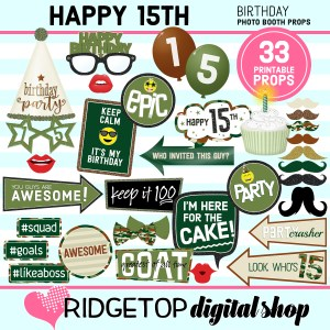 Ridgetop Digital Shop | 15th birthday party printable camo photo booth props