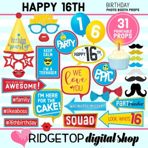 Ridgetop Digital Shop | 16th birthday party printable