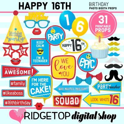 Ridgetop Digital Shop   16th birthday party printable