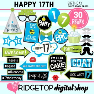 Ridgetop Digital Shop | 17th birthday printable photo booth props