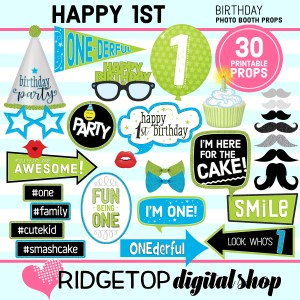 Ridgetop Digital Shop | 1st birthday printable photo booth props