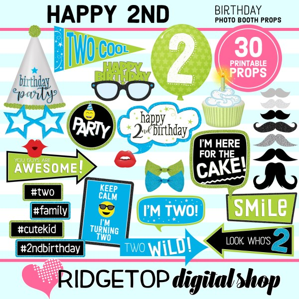 Ridgetop Digital Shop | 2nd Birthday Printable Photo Booth Props