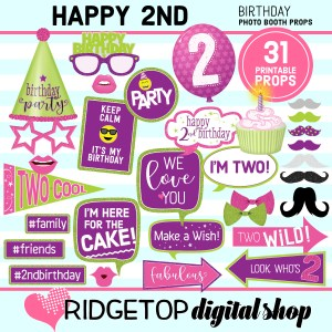 Ridgetop Dgital Shop | 2nd birthday printable photo booth props