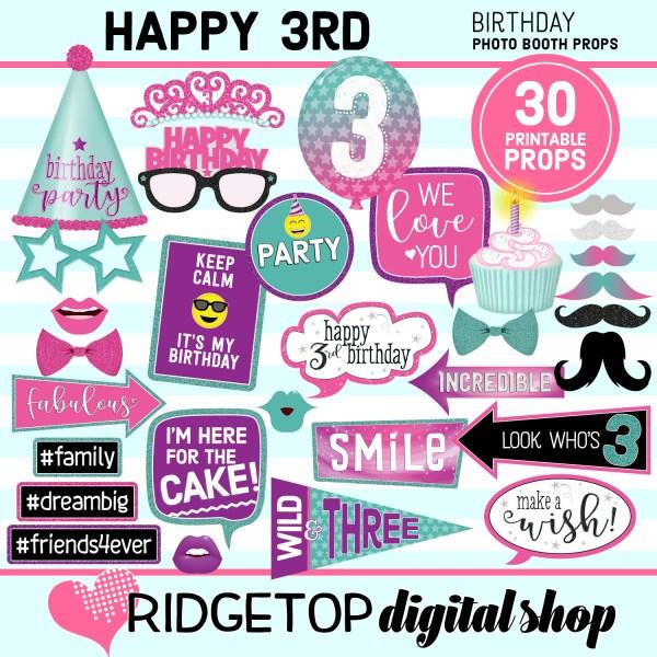 Ridgetop Digital Shop 3rd birthday printable photo booth props