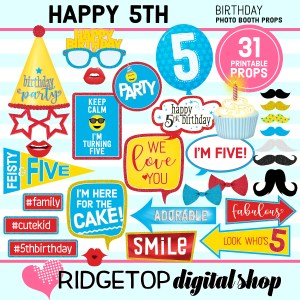 Ridgetop Digital Shop | 5th birthday party printable