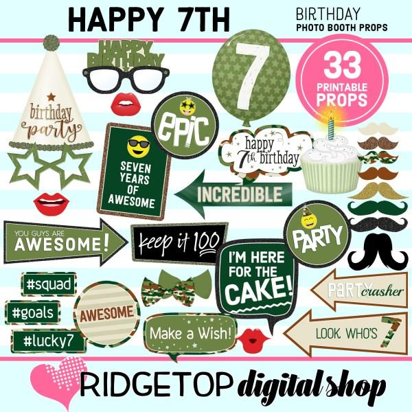 Ridgetop Digital Shop   7th birthday party printable camo photo booth props