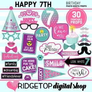 Ridgetop Digital Shop 7th Birthday printable Photo Booth Props