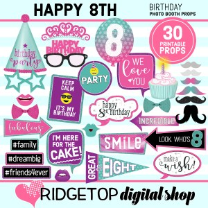 Ridgetop Digital Shop 8th birthday printable photo booth props