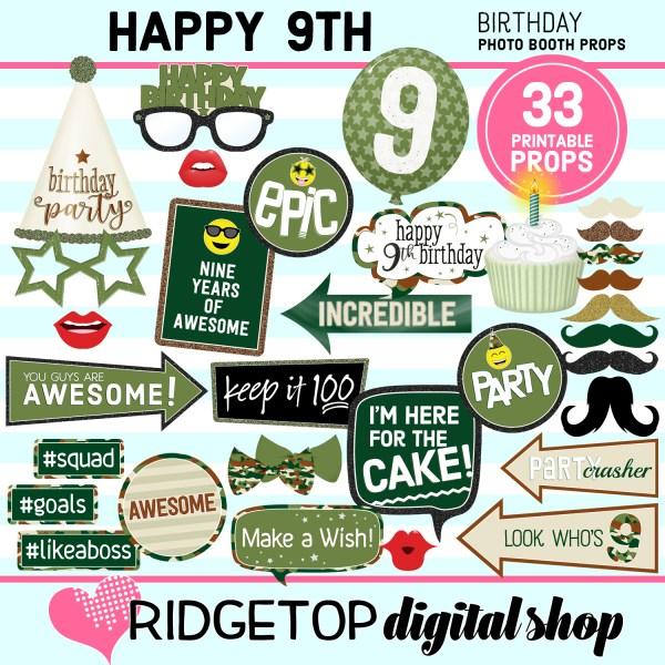 Ridgetop Digital Shop | 9th birthday party printable camo photo booth props