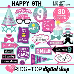 Ridgetop Digital Shop 9th birthday printable photo booth props