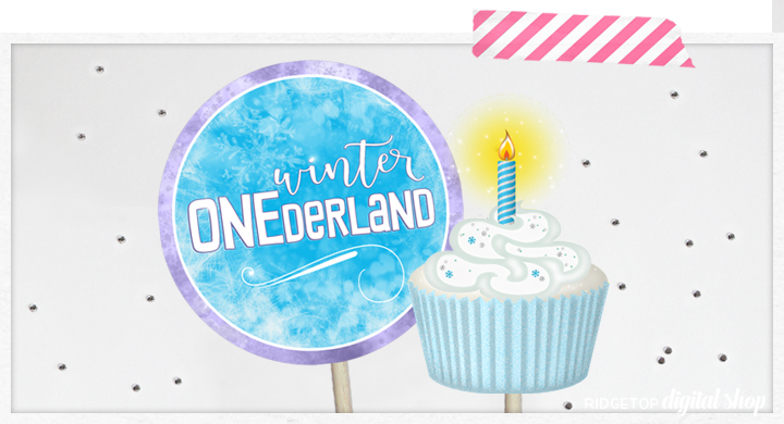 Ridgetop Digital Shop | Printable 1st Birthday Photo Booth Props | Winter Onederland | PDF