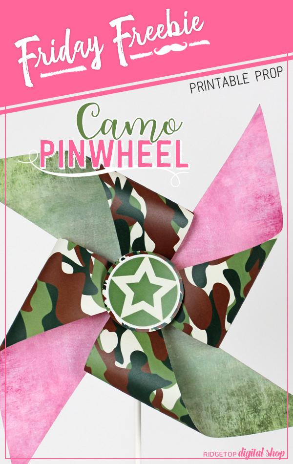 Ridgetop Digital Shop   Friday Freebie   Camo Pinwheel   Party Printable