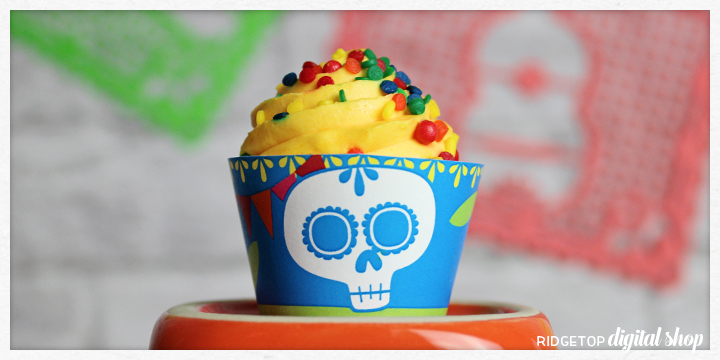 Ridgetop Digital Shop | Dia de los Muertos | Snapshot Free Printables | Mini Cupcake Wrapper | Day of the Dead