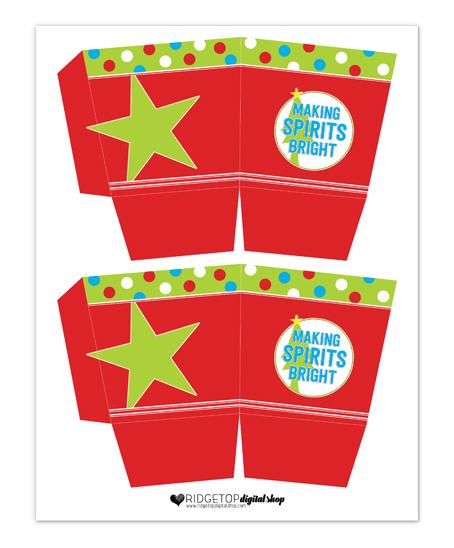 Ridgetop Digital Shop   Snapshot Printable   Christmas Party Snack Box Party Favor Free Printable   Making Spirits Bright