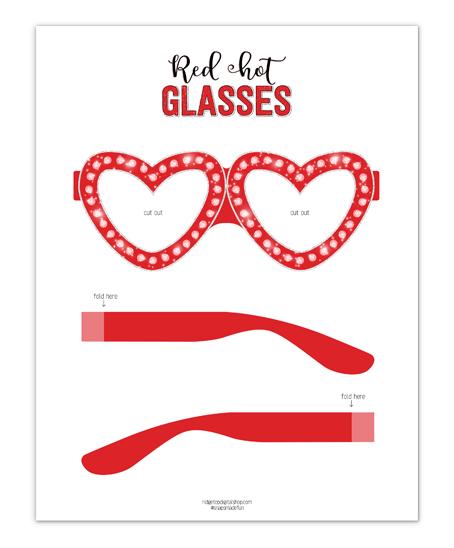 Ridgetop Digital Shop | Friday Freebie | Red Hot Glasses | Free Printable Photo Prop
