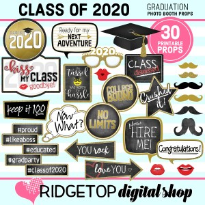 Class of 2020 Graduation Photo Booth Props | Graduation Party Printable | Ridgetop Digital Shop
