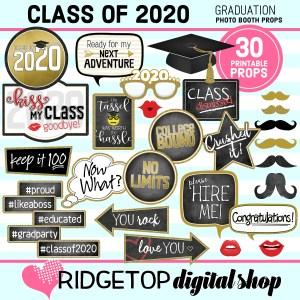 Class of 2020 Graduation Photo Booth Props | Graduation Party Printable | Ridgetop Digital Shop