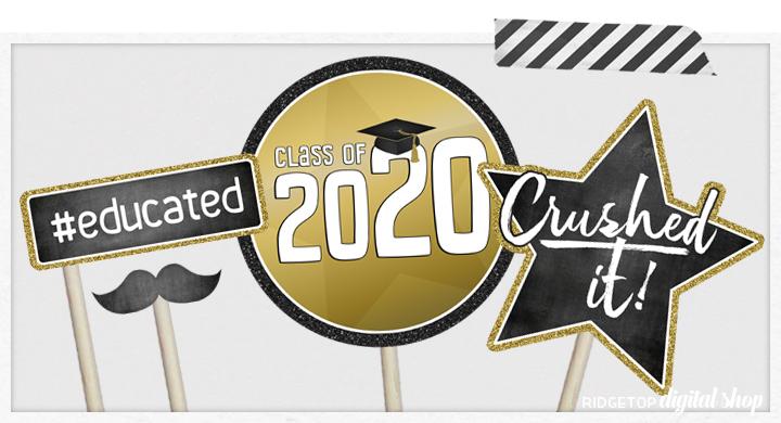 Class of 2020 Photo Booth Props | Printable Graduation Party Decor | Ridgetop Digital Shop