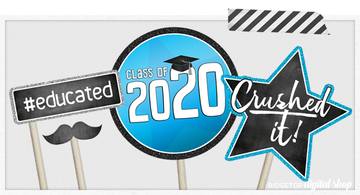 Class of 2020 Photo Booth Props | Blue and Silver Party Planning | Printable Graduation Party Decor | Ridgetop Digital Shop