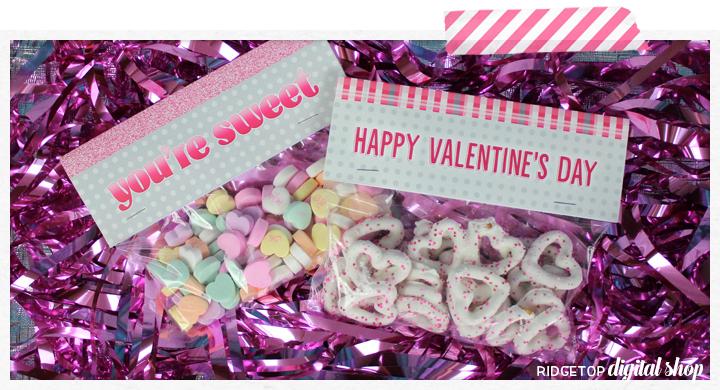 Valentine Free Printable   Treat Bag Topper   Friday Freebie   Ridgetop Digital Shop