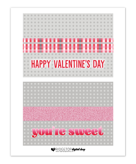 Valentine Free Printable   Valentine's Day Treat Bag Topper   Friday Freebie   Ridgetop Digital Shop