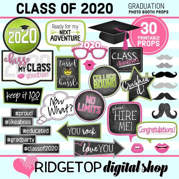 Class of 2020   Graduation Party photo booth props   Ridgetop Digital Shop