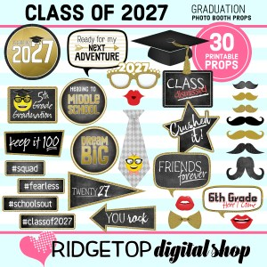 Class of 2027 | 5th Grade Graduation | 5th Grade Promotion | Photo Booth Props | Ridgetop Digital Shop