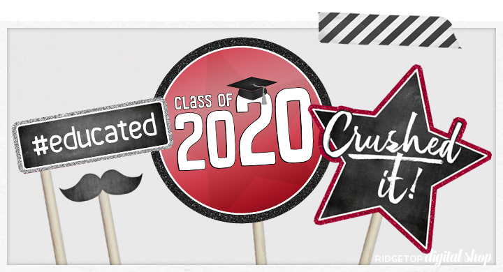 Class of 2020 Photo Booth Props | Crimson Party Planning | Printable Graduation Party Decor | Ridgetop Digital Shop