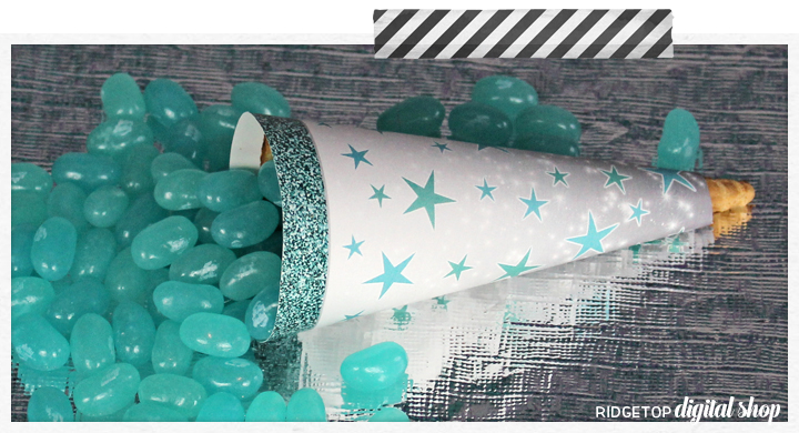 Birthday Cone Wrapper Free Printable | Turquoise Birthday Printable | Ridgetop Digital Shop